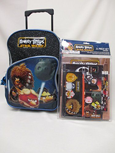 Angry Birds Star Wars Large 16 Rolling Wheeled backpack and Stationery kit Set! @ niftywarehouse.com #NiftyWarehouse #Geek #Products #StarWars #Movies #Film