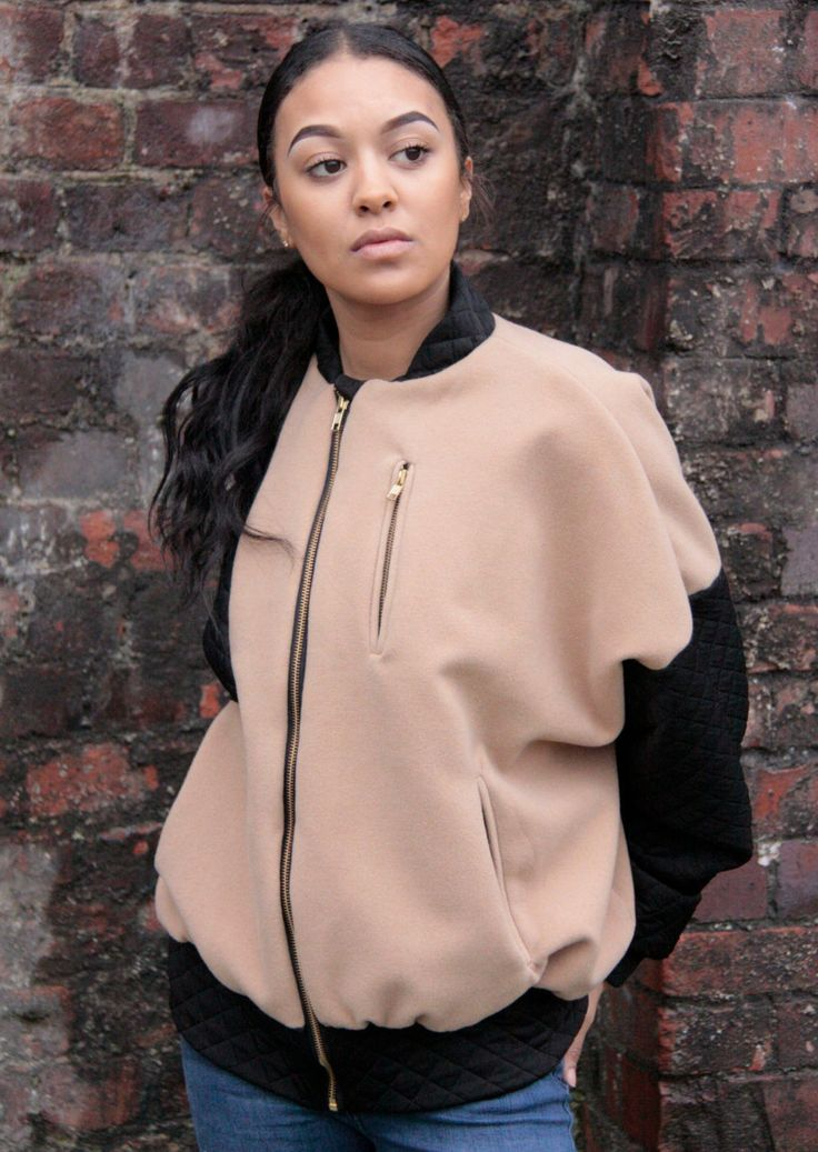 BombsAway/ Camel/ Black/ Contrast Bomber Jacket/ Ladies Jacket/ Ladies Bomber/ Luxury Jacket/ Over sized/ Boyfriend fit by MartinaClarrissa on Etsy