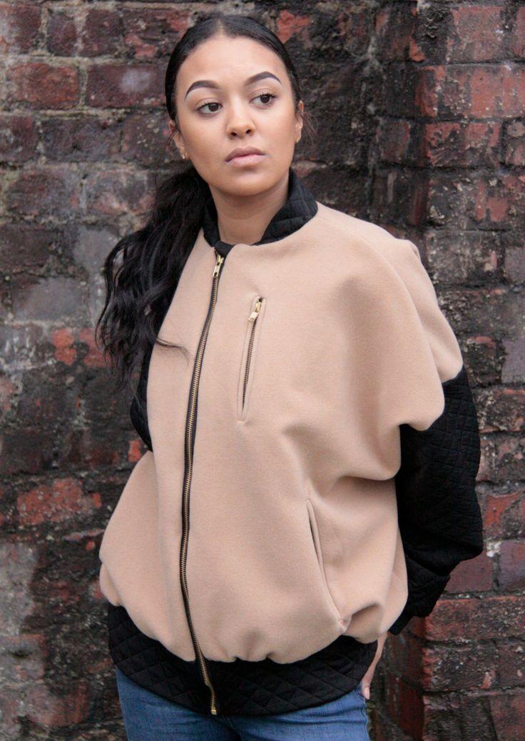 BombsAway/ Camel/ Black/ Contrast Bomber Jacket/ Ladies Jacket/ Ladies Bomber/ Luxury Jacket/ Over sized/ Boyfriend fit by MartinaClarrissa on Etsy