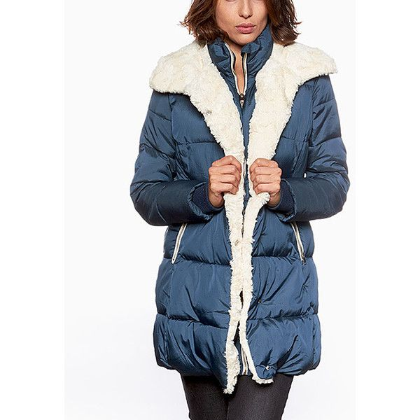 Celsius Navy Faux Fur-Trim Puffer Coat ($45) ❤ liked on Polyvore featuring plus size women's fashion, plus size clothing, plus size outerwear, plus size coats, plus size, blue puffer coat, long puffer coats, navy coat, puffer coat and plus size puffer coat