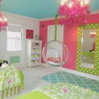 Bedroom. pink chandeliers in bedroom over green bedding sets and glass hanging chair. Astonishing Chandeliers In Bedrooms Enlightens Your Dream