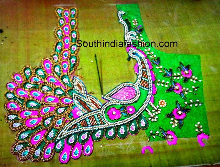 Peacock Maggam Work Blouse Design ~ Celebrity Sarees, Designer Sarees, Bridal Sarees, Latest Blouse Designs 2014