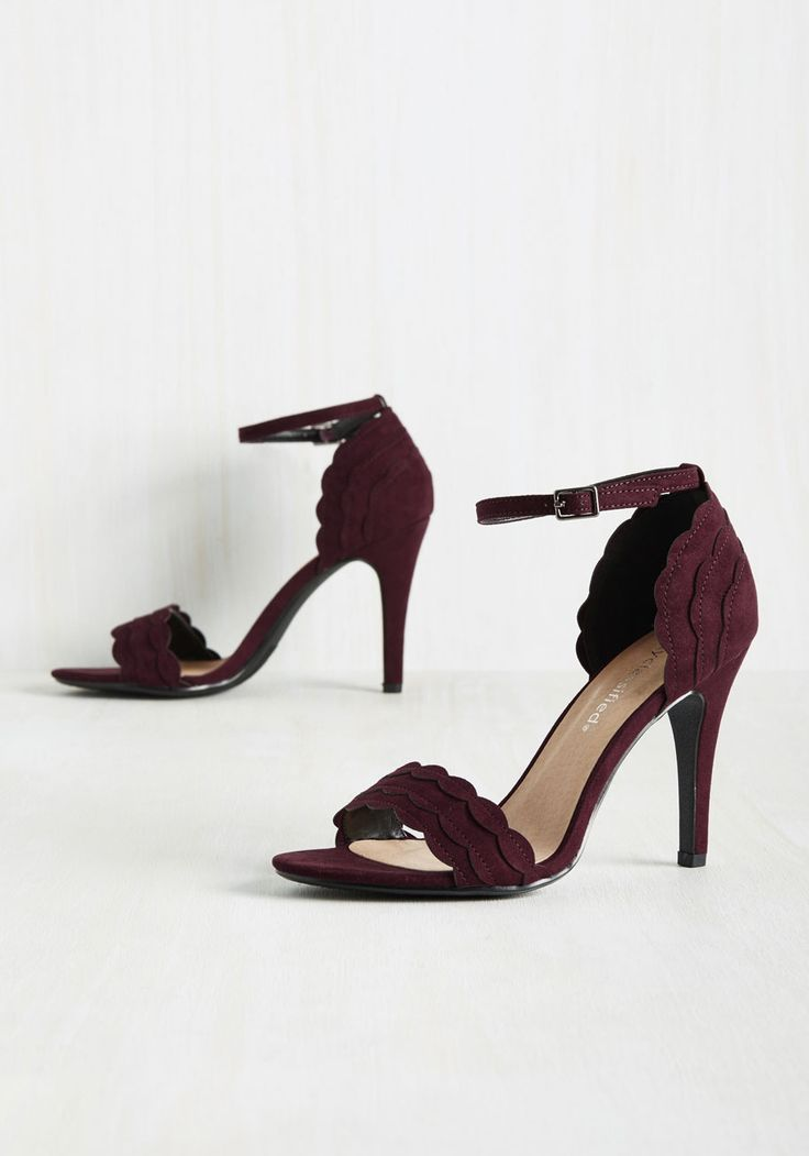 Have the World by Detail Heel in Garnet. These faux-suede heels are all you need to reach your goal of being happy and successful in the realm of…