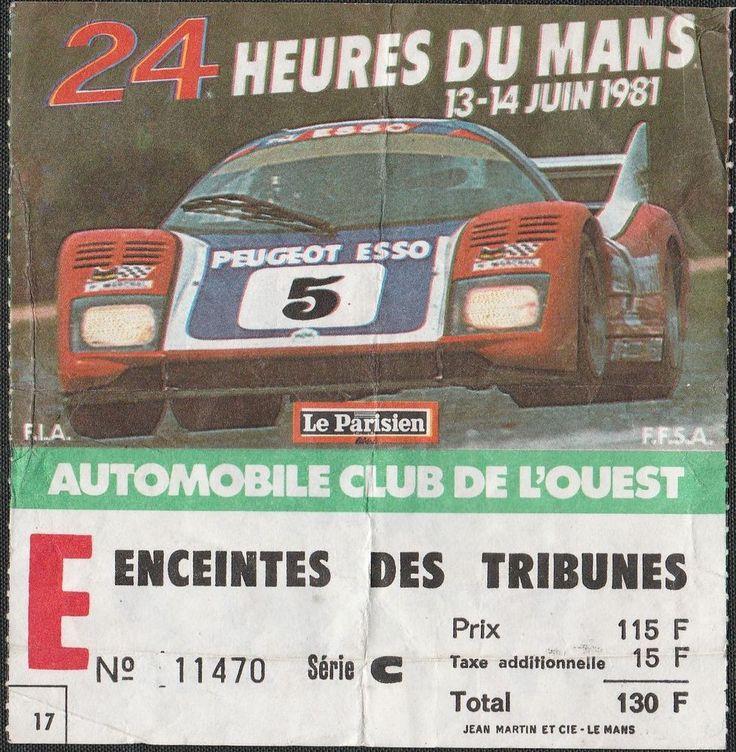 LE MANS 24 HOURS HEURES 1981 GENERAL ENTRANCE TICKET PASS WM P79/ 80 PEUGEOT