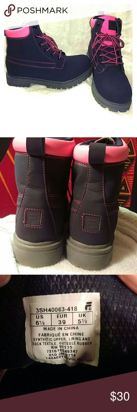 Fila boots Gray and pink Fila boots. I think they're kids size 6 1/5 but I normally wear women's 8 & 8 1/5 and they fit fine. Fila Shoes Ankle Boots & Booties