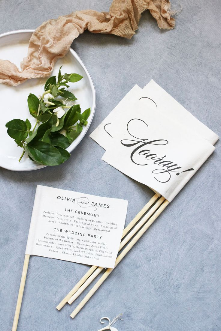 Wedding programs don't have to be boring. We'll show you how to make fun + festive program flags using our free wedding program template.