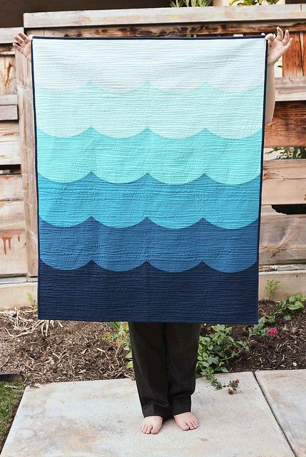 Blogger's Quilt Festival - Deep Blue Sea Baby Quilt (Kitchen Table Quilting)