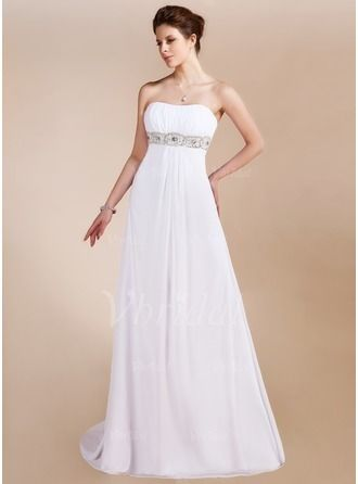 Prom Dresses - $135.99 - Empire Strapless Sweetheart Sweep Train Chiffon Prom Dress With Ruffle Beading (0185097526)