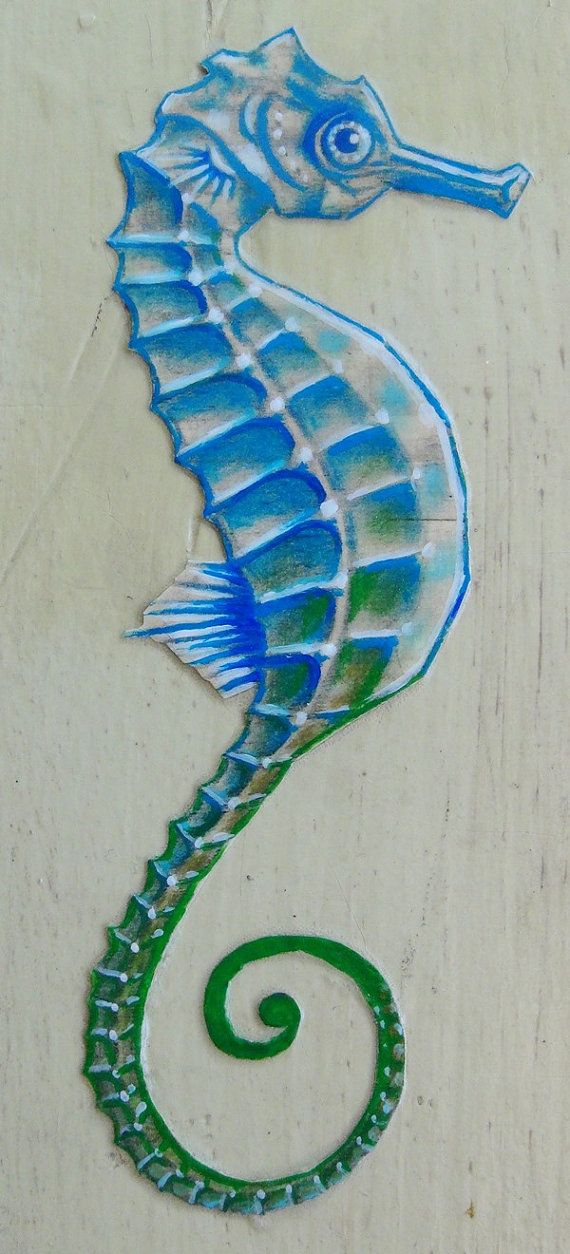 Caballito de mar azul  Original de arte en madera  mixtas