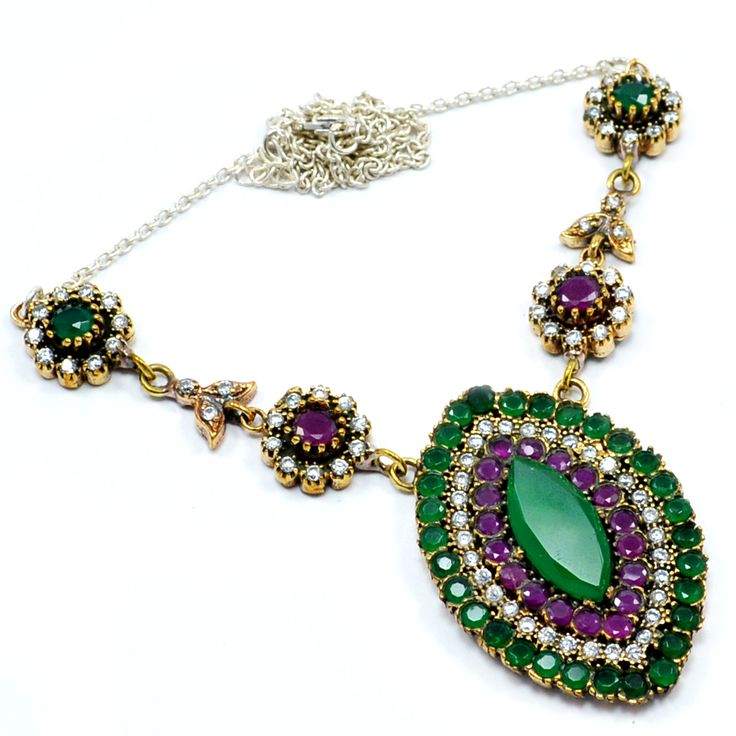 Silvesto India Ruby,Emerald And White Topaz (Lab) 925 Sterling Silver With Bronze Turkish Pendant Necklace Jewelry PG-7128  https://www.amazon.com/dp/B01EOGQIV0