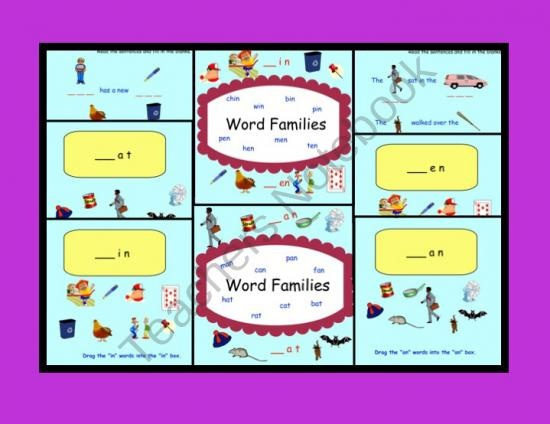 Smartboard: Word Families (at, an, in, en) product from Teaching-The-Smart-Way on TeachersNotebook.com