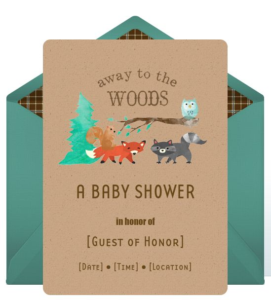 Adorable woodland creatures baby shower theme invitation from @Punchbowl @HUGGIES Baby Shower Planner Baby Shower Planner