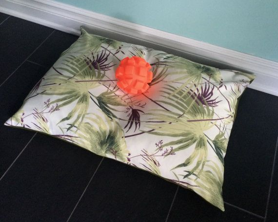 Botanical Pet Bed Cover 25x35 Tropical Dog Bed by ainthatastitch