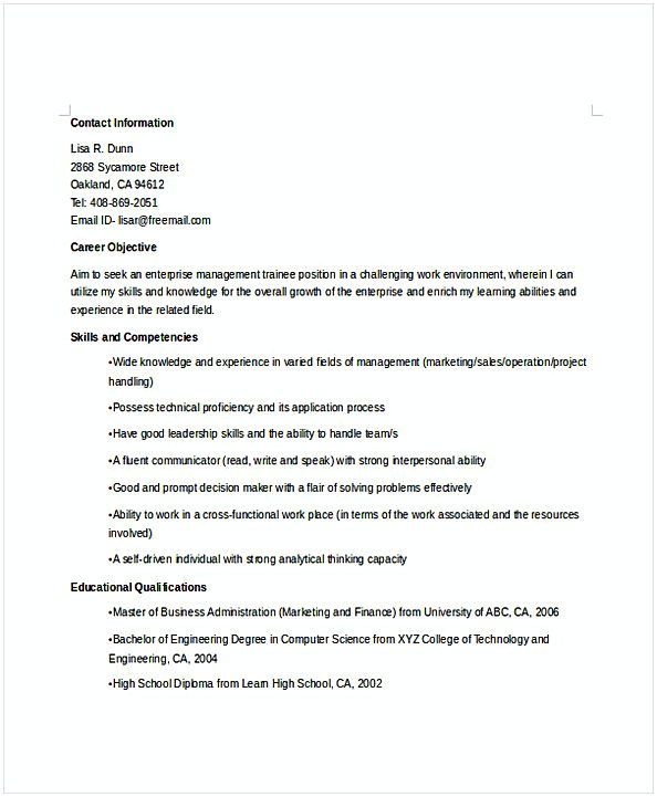 Enterprise Manager Trainee Resume Resume For Manager Position Many Of Us Interested In Being Manager If Yo Resume Objective Examples Resume Manager Resume