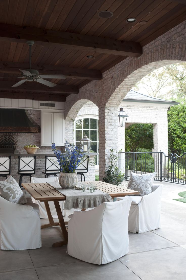 Rustic country backyard ideas - Country French Loggias Traditional Home