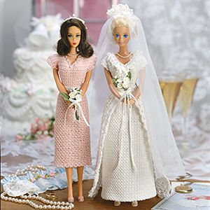 Fashion Doll Bridal gown and bridesmaid dress crochet pattern