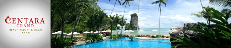 KRABI:  Centara Grand Beach Resort & Villas Krabi. With its beachside location, the resort offers ample leisure facilities for all. Fitness Centre, PADI dive and water sports centre, swimming pool, Jacuzzi, children's pool, Kids Club and play areas. SPA Cenvaree provides traditional aromatherapy and therapeutic massages in surroundings of pure luxury, and there is a meditation hall for yoga. (Thailand)