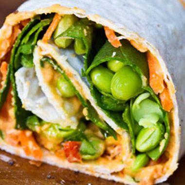 Edamame, spinach, carrots, hummus, & avocado. Power veggie wrap.