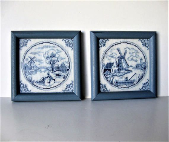 Shabby Pair of framed cross stitched Windmill by jewelryandthings2