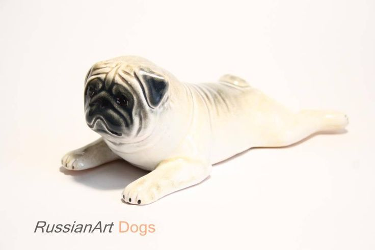 Pug fawn dog ceramic figurine handmade statue by RussianArtDogs on Etsy