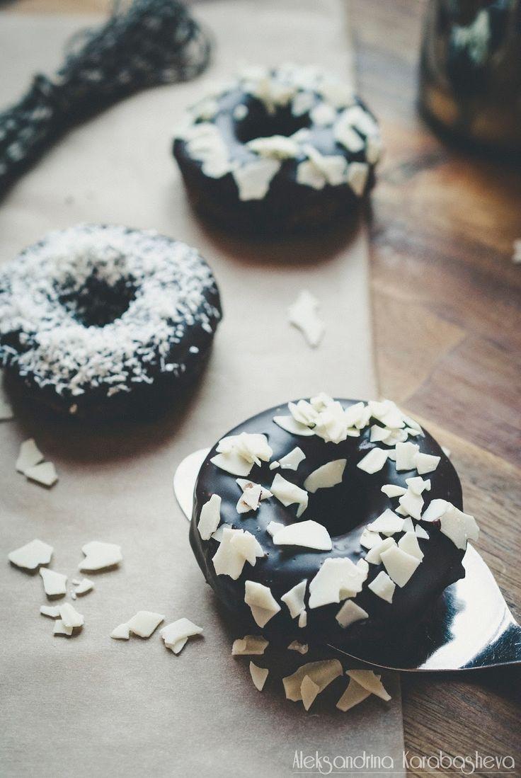 Шоколадови донъти / Baked chocolate donuts