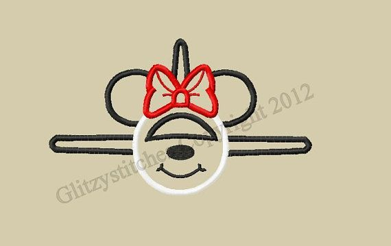 Design+-INSTANT+DOWNLOAD+-++Applique+Miss+Mouse+Air+Plane+Embroidery+Design+-+++4x4+5x7+and+6x10+Plus+5x7+with+Wording+-+Beginner+Friendly,+$3.75