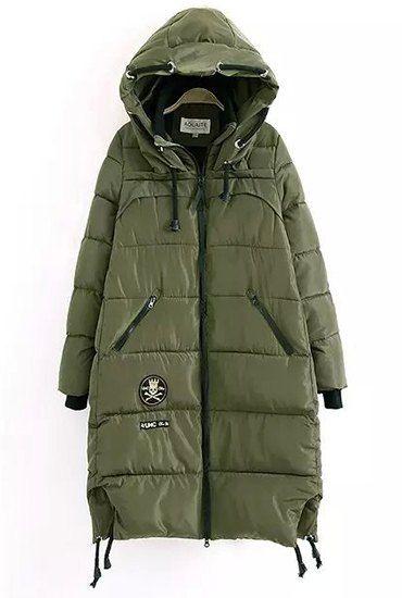 Trendy Hooded Applique Long Sleeve Zip Coat For Women
