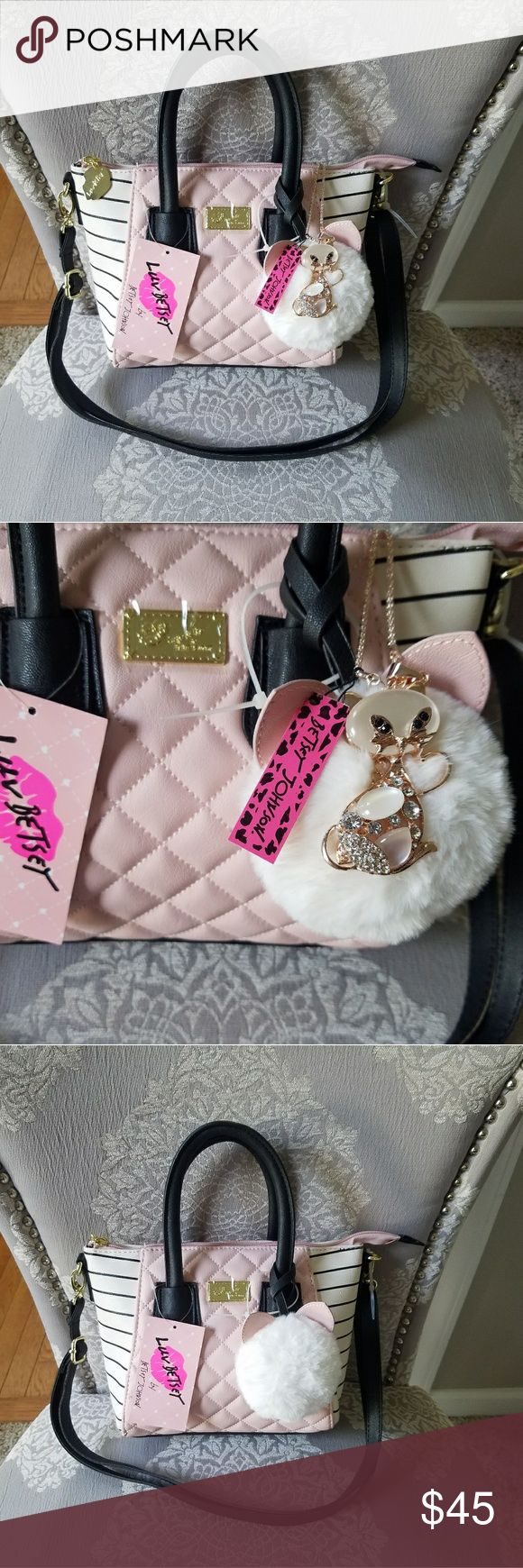 "Besty Johnson Purse and Necklace. *BUNDLE AND SAVE*  Besty Johnson Purse and Betsy Johnson Seimez Cat Necklace.  Purse- PINK Dom Mini Satchel.   Necklace- SIMIEZ CAT- 27"" + 3"" Extension..  Pendant- 6 x 3 cm. Besty Johnson Jewelry"
