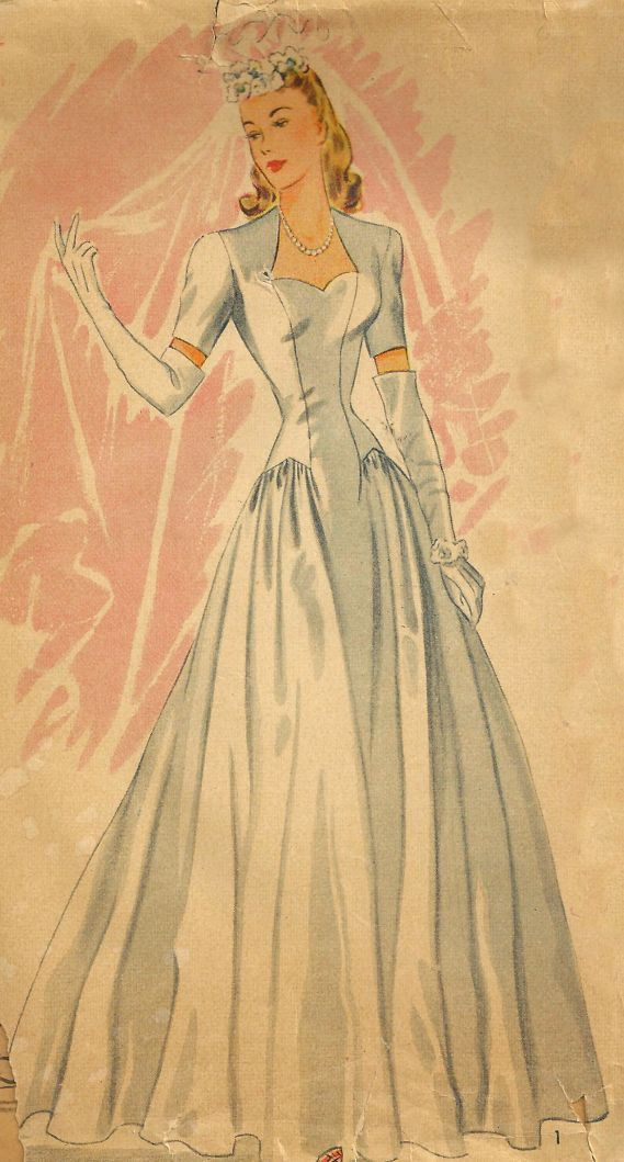 1940's Wedding Dress Simplicity Pattern by SewReallyCute,