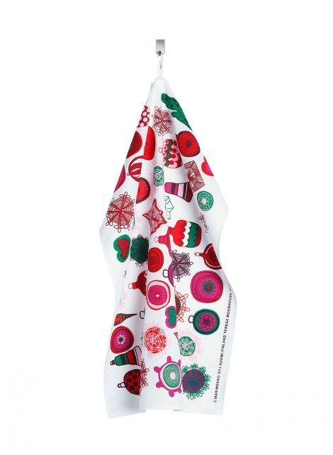 Rati riti ralla dish towel (white, red, pink) |Décor, Kitchen & Dining, Textiles, Keittiöpyyhkeet | Marimekko