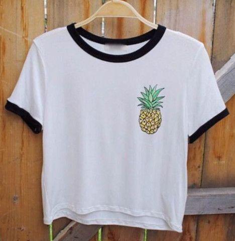Pinapple Black and White Ringer T shirt – Fresh-tops.com