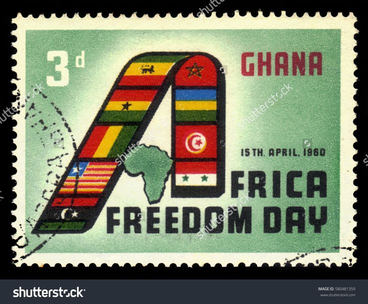 """Ghana - circa 1960: A stamp printed in Ghana shows african countries flags forming """"A"""" and map of Africa, day of the african freedom, circa 1960"""