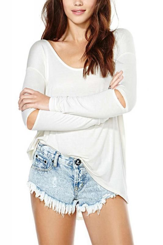 White Round Neck Cut-out Long Sleeve T-shirt