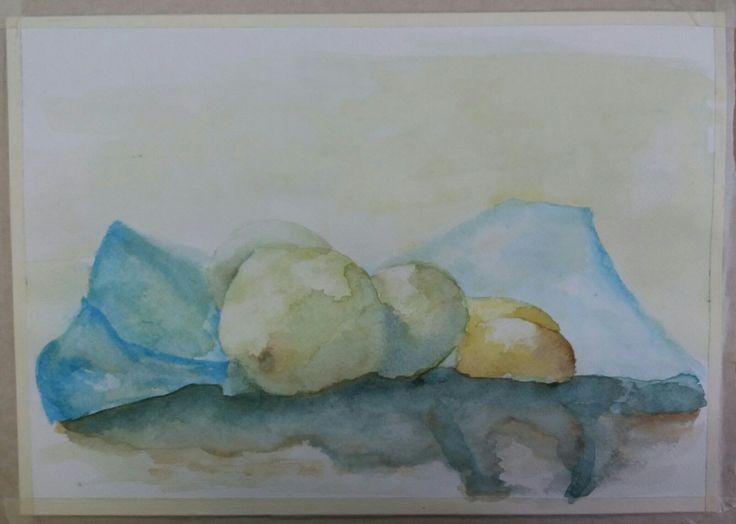 Acuarela. Bodegón de frutas. Manzanas, palta y wikis.