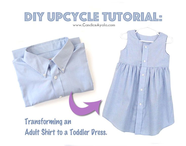 EASY DIY UPCYCLE STEP BY STEP TUTORIAL : Transforming an Adult Shirt to a Toddler Dress.