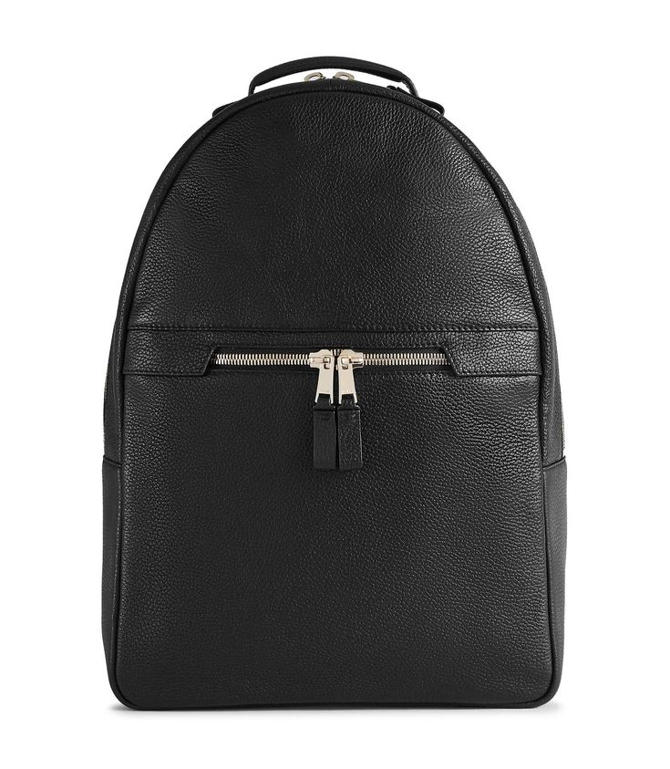 REISS HUNTINGTON TEXTURED LEATHER BACKPACK BLACK. #reiss #bags #leather #lining #polyester #backpacks #