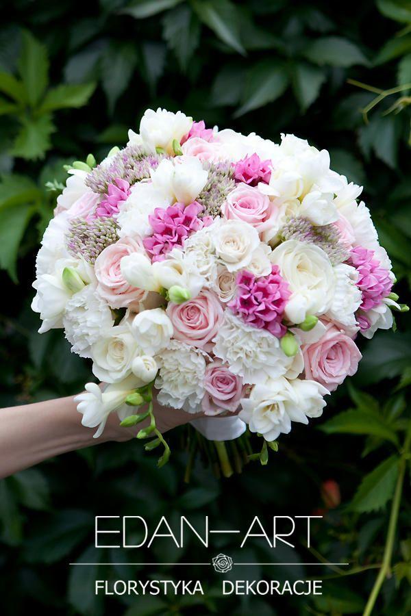 Bukiety Ślubne Edan-Art Mrągowo, Olsztyn, Warmińsko-Mazurskie, biały, róż, ślub, frezja, róża, goździk, trachelium, bouvardia, #bukiet