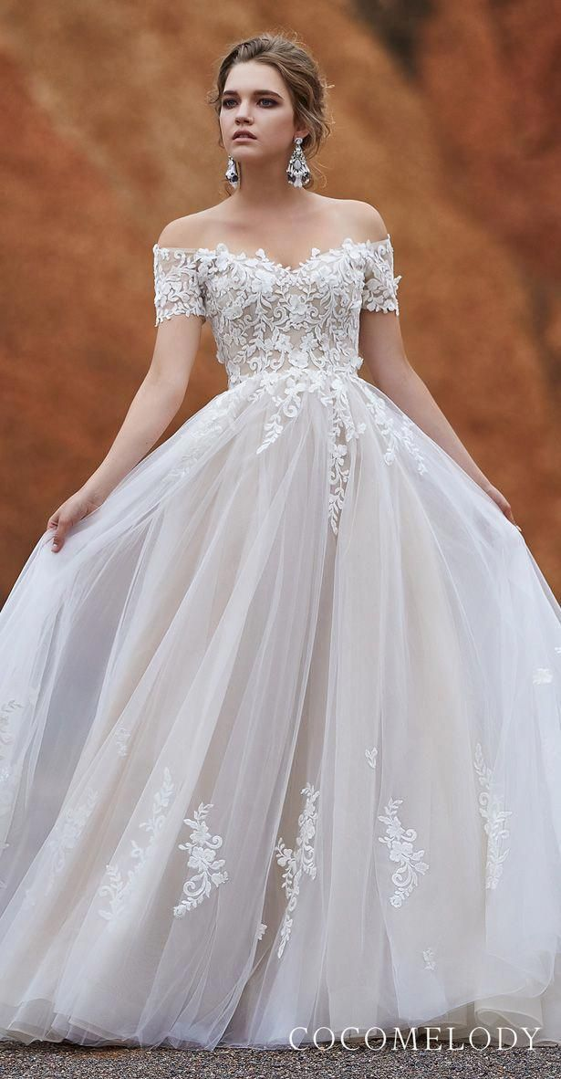 Cocomelody Wedding Dresses 2019 Lace Off The Shoulder Ball Gown