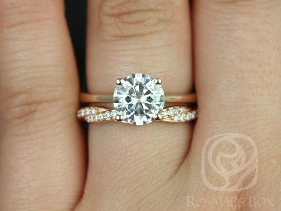 Skinny Flora 8mm & Twyla 14kt Rose Gold Round FB Moissanite and Diamonds Wedding Set (Other metals and stone options available)