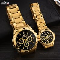 CHENXI Dos Amantes de Quartzo Relógios De Pulso De Ouro Dos Homens Das Mulheres Relógios Top Marca de Luxo Relógio Feminino Masculino IPG Ouro Aço Relógios PENGNATATE