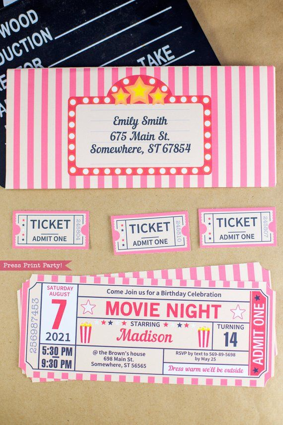 picture relating to Printable Tickets With Stubs referred to as Video Evening Invitation Printables, Video clip Ticket Stub Invite
