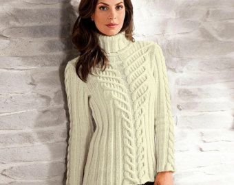 Hand Knit Women's turtleneck sweater made to by BANDofTAILORS