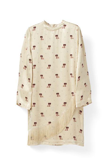 Donnelly Satin Dress, Biscotti