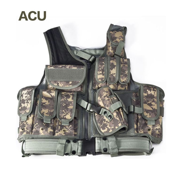 Tactical Vest Outdoor Camouflage Military Body Armor Sports Wear Hunting Vest Army Swat Molle Vest Black
