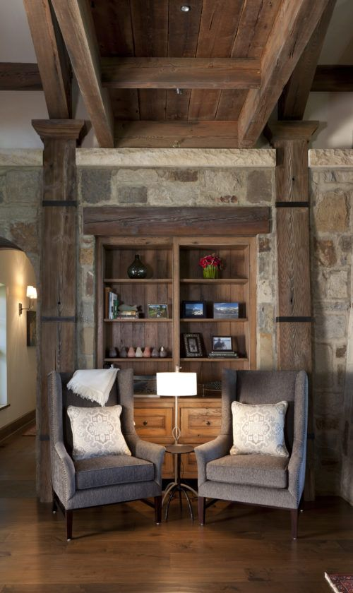 Using the lodges of our national parks as inspiration, this expansive homestead combines energy-conscious building materials, rustic timbers and tapered posts clad with iron accents for a modern take on a grand lodge. In the kitchen, reclaimed French oak cabinets are offset by a kid-friendly zinc tabletop. Custom-designed, antique French cloches in the hallway mix …