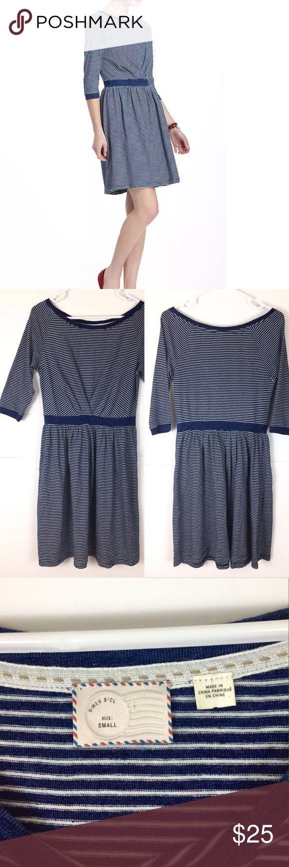 Anthropologie Postmark Blue White Striped Dress Anthropologie Postmark Patched Racquet Dress - Sz S  Made of cotton in a navy blue (with an almost denim like look) and white striped pattern. Features band at waist, elbow patches, and pullover styling.  Pre-owned with normal wear and no apparent flaws. Anthropologie Dresses