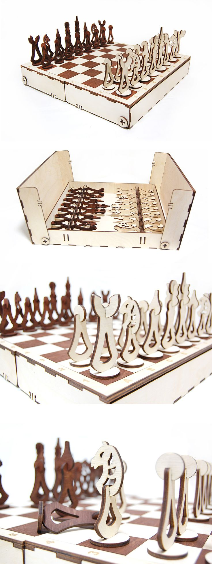 Design chess from plywood. Light figures - a birch tree, dark figures - American walnut. #WoodenGames #HomeDecor #PlywoodChess