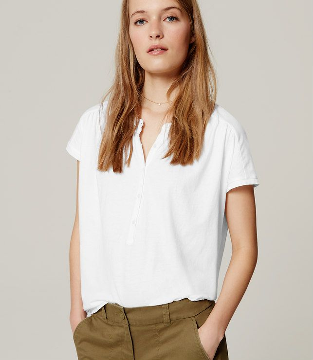 Primary Image of Shirred Henley Tee