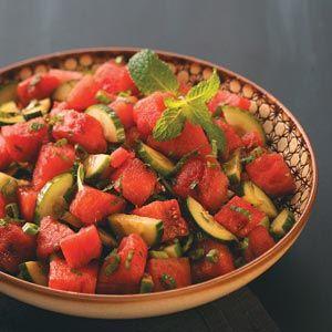 Minty-Watermelon Cucumber Salad: Minty Watermelon Cucumber, Cucumber Salad I, Salad Recipes, Side, Beautiful Salad, Cucumber Salad Vinegar, Delicious Salad, 2Food Soups Salad Sandwiches, Cucumber Salad Yum