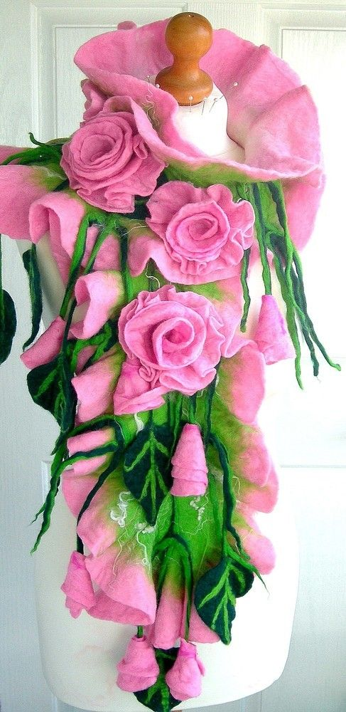 Hand Felted, Wool felted soft ART SCARF  -PINK ROSES- £49.99